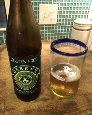 Green's Dry-Hopped Lager Glass and bottle