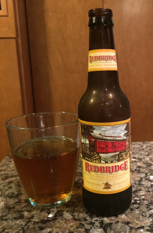 Glass and bottle of RedBridge Gluten Free beer