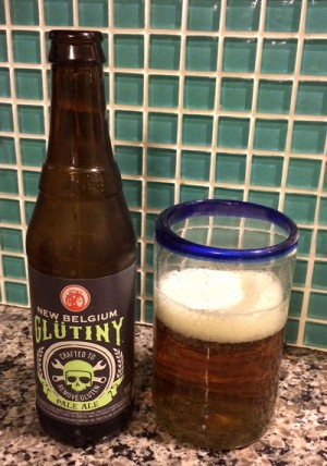 New Belgium Glutiny Gluten free Pale ale bottle and glass