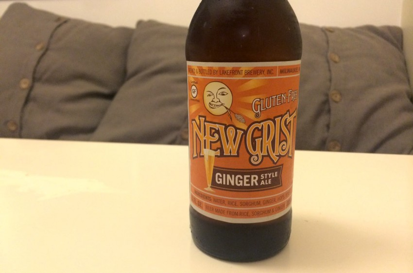 Bottle of New Grist Gluten Free Ginger Beer on table