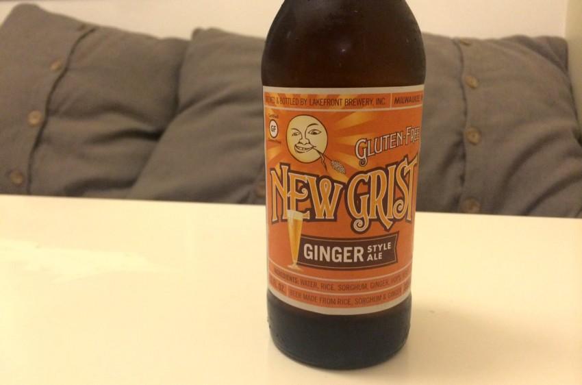 Bottle of New Grist Gluten Free Ginger Beer on table