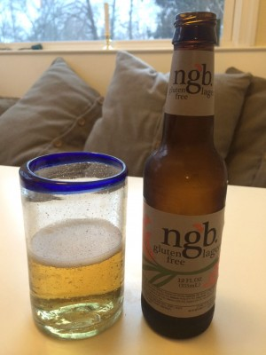 bottle and glass of ngb gluten free beer