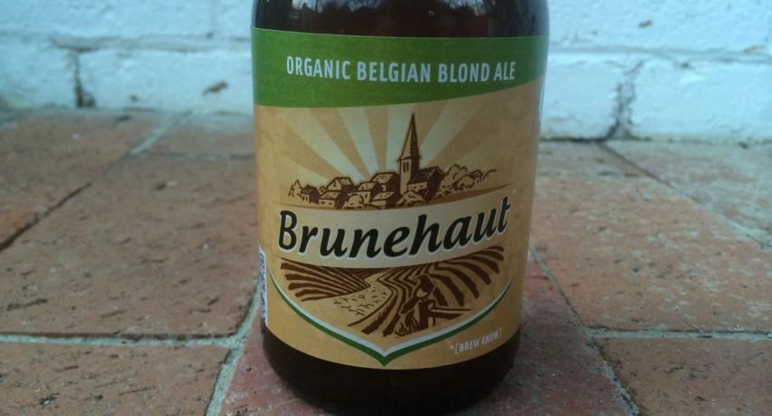 close up of bottle of Brunehaut Belgian Blond organic ale