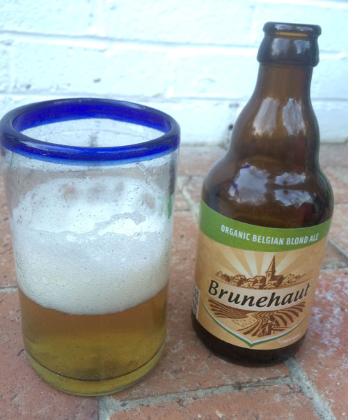 Brunehaut Belgian Blond organic Ale, bottle and glass