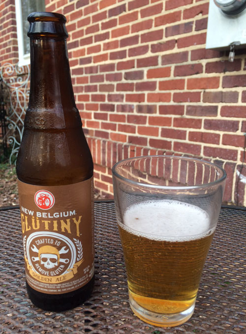 Glutiny gluten-removed Golden Ale bottle and glass