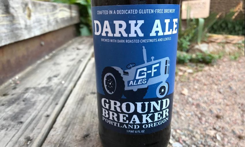 Ground Breaker Dark Ale Gluten Free bottle and label up close