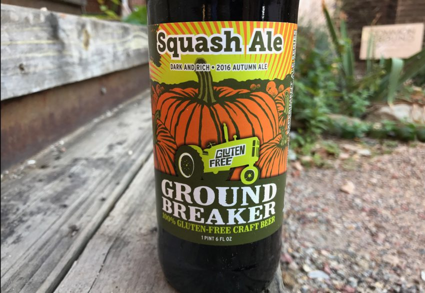 ground breaker gluten free squash ale bottle and label up close