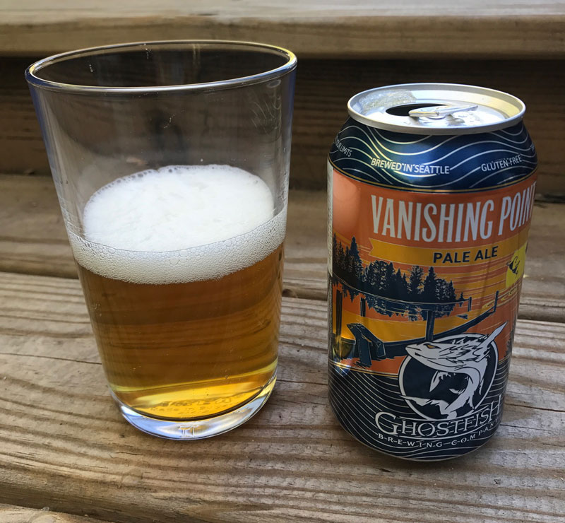 poured glass of Vanishing Point Pale Ale. Gluten free beer